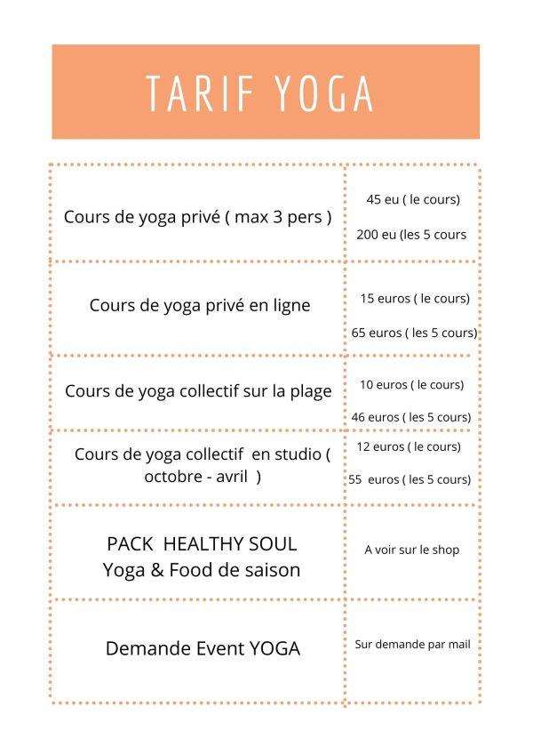 Tarifs cours de yoga